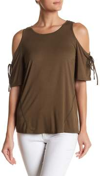 Dee Elly Cold Shoulder Tie Sleeve Blouse