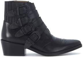 Toga Pulla Texan In Black Leather With Opaque Black Buckles