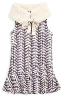 Imoga Toddler's & Little Girl's Faux Fur Collared Dress