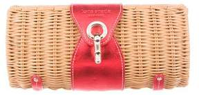 Kate Spade Leather-Trimmed Wicker Clutch - NEUTRALS - STYLE