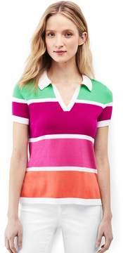 Lands' End Lands'end Women's Petite Supima Cotton Contrast Sweater Polo Shirt