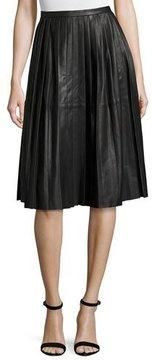 Bagatelle Plissé Leather Skirt