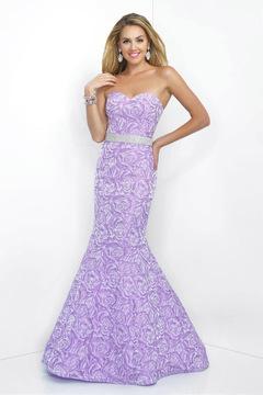 Blush Lingerie Floral Printed Sweetheart Brocatelle Mermaid Gown 11068