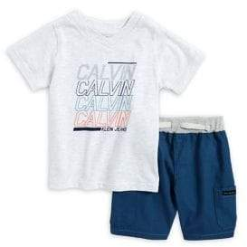 Calvin Klein Jeans Little Boy's Two-Piece Graphic Tee and Cargo Shorts Set