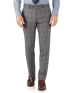 Charles Tyrwhitt Silver Prince Of Wales Slim Fit Flannel Business Suit Wool Pants Size W36 L32