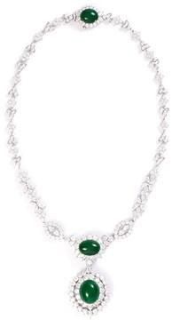 Green Jade Diamond jade 18k white gold pendant necklace