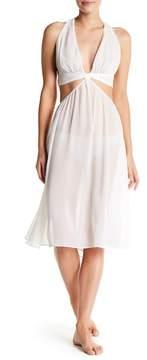 Felina Luna Cutout Halter Sheer Gown