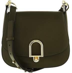 Michael Kors Women's Large Delfina Rolex Leather Saddle Bag Shoulder Satchel - Olive - OLIVE - STYLE