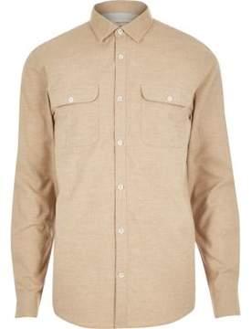 River Island Mens Dark beige brushed flannel two pocket shirt