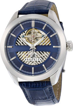 Co Brooklyn Watch Brooklyn Pierrepont Skeleton Men's Automatic Blue Dial Watch