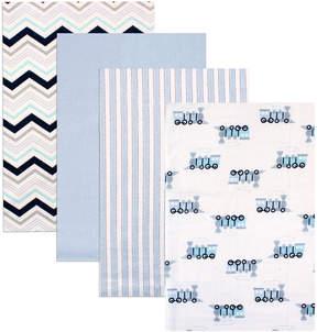 Luvable Friends 28'' x 28'' Chevron Flannel Receiving Blanket - Set of Four