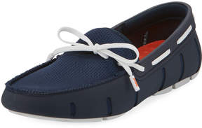 Swims Mesh & Rubber Braided-Lace Boat Shoe, Blue/White