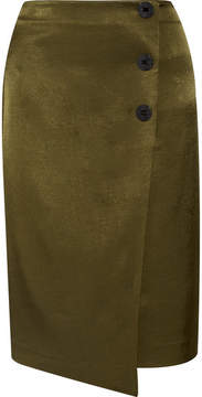 By Malene Birger Malliah Satin-twill Wrap-effect Skirt - Army green
