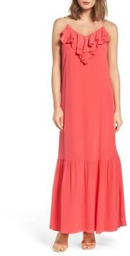 ECI Women's Ruffle Silk Maxi Dress