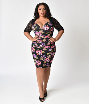 Kiyonna Plus Size Black & Floral Midnight Bouquet Stop And Stare Ruched Wiggle Dress
