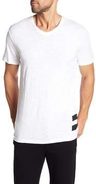 Karl Lagerfeld Short Sleeve V-Neck Striped Tee