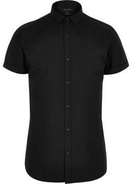 River Island Mens Black short sleeve slim fit shirt