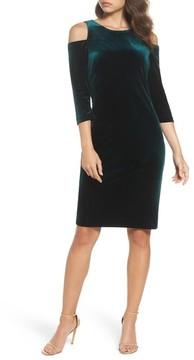 Eliza J Women's Cold Shoulder Velvet Sheath Dress