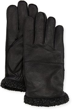 Neiman Marcus Men's Goatskin Gloves w/Faux-Sherpa