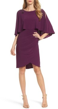 Adrianna Papell Women's Embellished Capelet Sheath