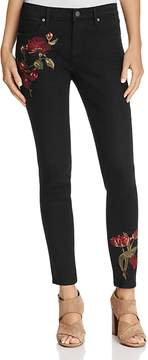 Aqua Embroidered Skinny Jeans in Black - 100% Exclusive