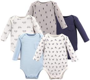 Hudson Baby Blue & Gray Long-Sleeve Bodysuits Set - Infant