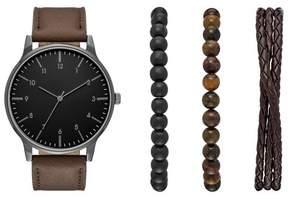 Merona Men's Strap Watch Gift Set with Bracelet Accessories Brown/Black