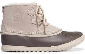 Sorel Out'n About Waterproof Nubuck And Shearling Boots - Stone
