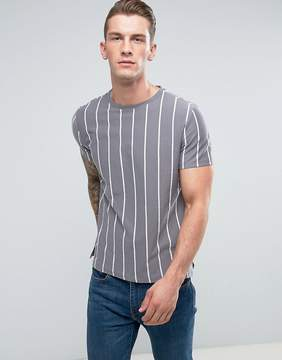 New Look T-Shirt With Vertical Stripes In Gray