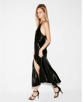 Express halter sequin midi dress