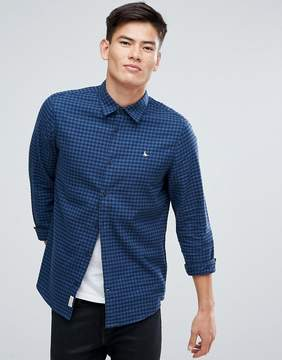 Jack Wills Salcombe Regular Fit Flannel Gingham Check Shirt In Navy