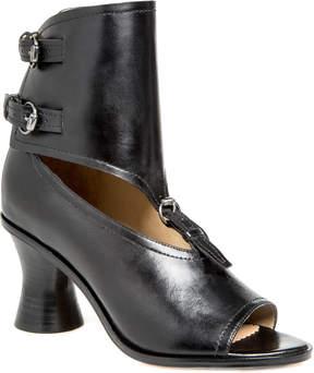 Max Studio wander : burnished leather peep-toe spindle heels