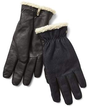 Gap Denim-leather sherpa smartphone gloves