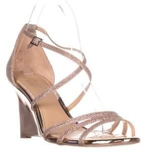 Badgley Mischka Hunt Strappy Wedge Sandals, Ros Gold Glitter.