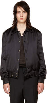 Saint Laurent Black Writing Bomber Jacket