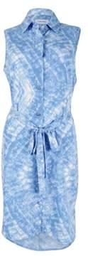 Calvin Klein Women's Sleeveless Belted Shirtdress (Blue, 6)