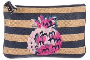 Draper James Embroidered Straw Clutch