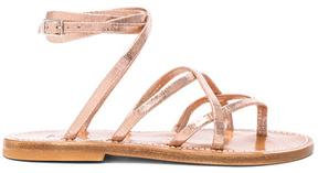 K. Jacques Suede Zenobie Sandals in Pink,Metallics.