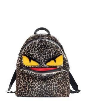 Fendi Jaguar-Print Fur Monster Backpack