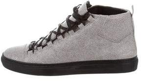 Balenciaga Arena Pebbled Leather Sneakers