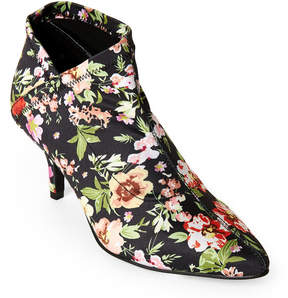 Mia Charleese Floral-Print Pointed Toe Stretch Booties