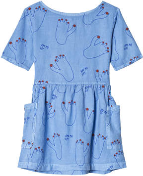 Bobo Choses Heritage Blue Footprint Pockets Dress