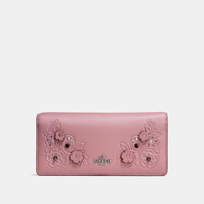 COACH Coach Slim Wallet In Glovetanned Leather With Tea Rose Tooling - LIGHT ANTIQUE NICKEL/DUSTY ROSE - STYLE