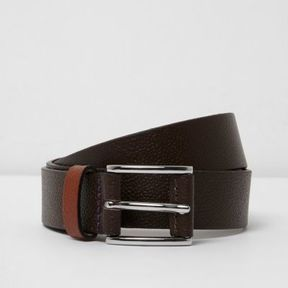 River Island Mens Brown contrast keeper leather belt
