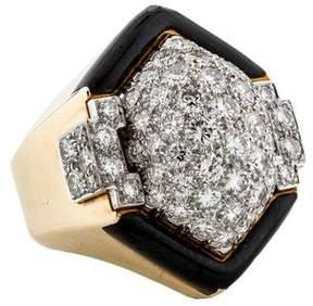 David Webb Diamond & Enamel Cocktail Ring
