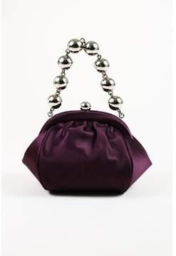 Tiffany & Co. Pre-owned Purple Satin Ball Chain Bracelet Frame Evening Bag.