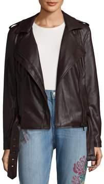 Bagatelle Women's Belted Biker Jacket