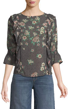 Dex 3/4 Sleeve Ruffled Floral Blouse