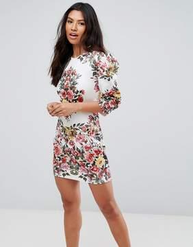 Club L Placement Print Mini Dress With Shoulder Detail