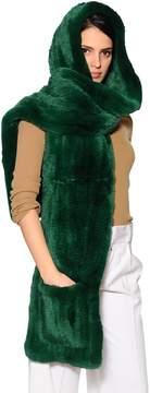 Yves Salomon Rex Rabbit Fur Hooded Scarf W/ Pockets